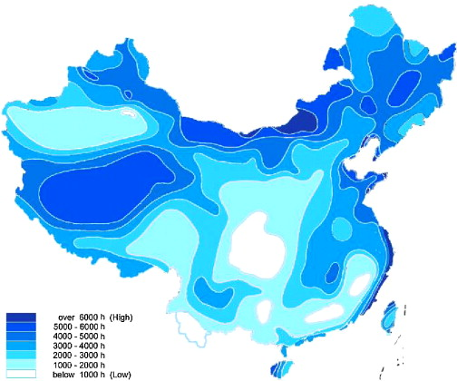 Figure. 4. Hours with wind speed over 3 m/s in different areas of China (Source: No. 10)
